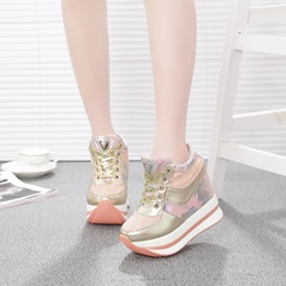 Sequin Lace-Up Women Wedge Sneakers