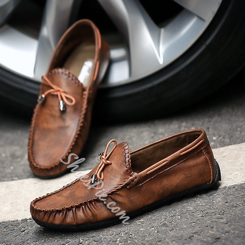 b9f8d990469 Shoespie Bow Thread Slip-On Men s Loafers- Shoespie.com