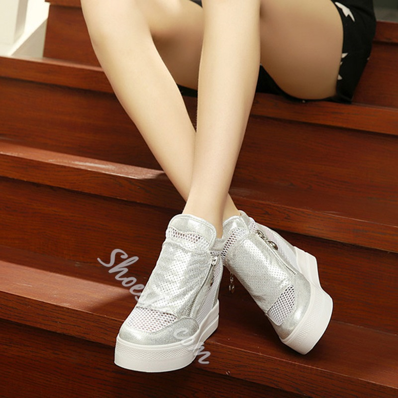 White Zipper Hollow Wegde Sneakers