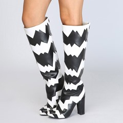 Black & White Casual High Heel Knee High Boots