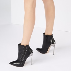 Sequin Black Lace Up Stiletto Heel Ankle Boots