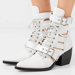 Shoespie Hollow Buckle Stylish Ankle Boots