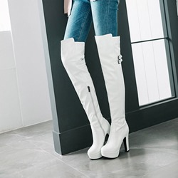 Shoespie Platform Buckle Casual Thigh High Boots