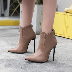 Shoespie Casual Back Zip Stiletto Heel Ankle Boots