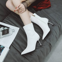 Sequin Pointed Toe Stiletto Heel Ankle Boots