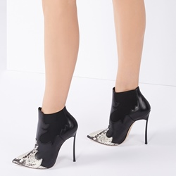 Serpentine Black Fashion Stiletto Heel Ankle Boots