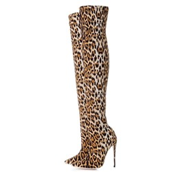 Leopard Pointed Toe Fashion Thigh High Boots