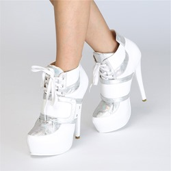 White Lace-Up Platform Ankle Boots