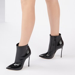 Black Plain Classic Stiletto Heel Ankle Boots