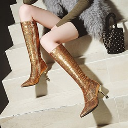 Shoespie Sequin Glitter Pointed Toe High Heel Boots