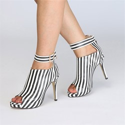 Black & White Buckle Peep Toe Stripe Ankle Boots