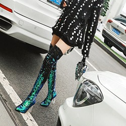 Sequin Pointed Toe Glitter Thigh High Boots