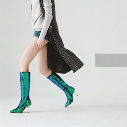 Shoespie Sequin Fashion Pointed Toe High Heel Boots