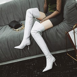 Shoespie Glitter Cross Strap Thigh High Boots