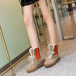 Shoespie Platform Stripe Lace-Up Snow Boots