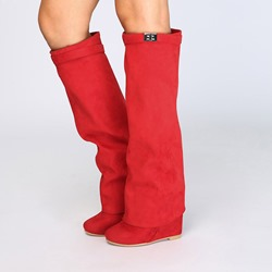 Red Suede Wedge Heel Knee High Boots