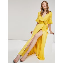 One Button Plain Bowknot V Neck Polyester Women's Maxi Dress