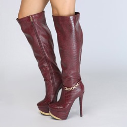 Burgundy Chain Platform Stiletto Heel Knee High Boots