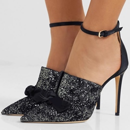 Black Bow Sequin Pointed Toe Stiletto Heels