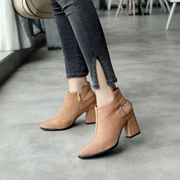 Pointed Toe Casual Buckle Ankle Boots