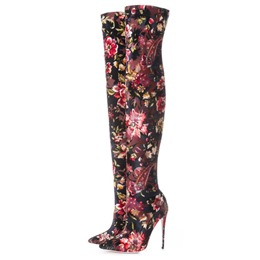 Floral Red Suede Stiletto Heel Thigh High Boots