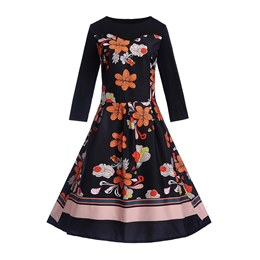 Patchwork Pullover Fall Women's Skater Dress