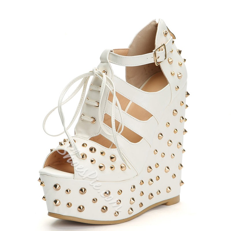 White Cross Strap Rivet Buckle Wedge Heels