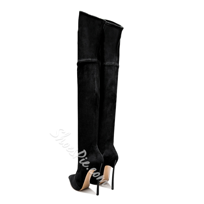 Suede Pointed Toe Stiletto Heel Thigh High Boots