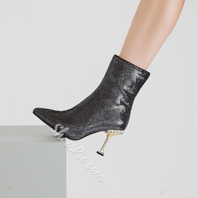 Sequin Rhinestone Pointed Toe Glitter Ankle Boots