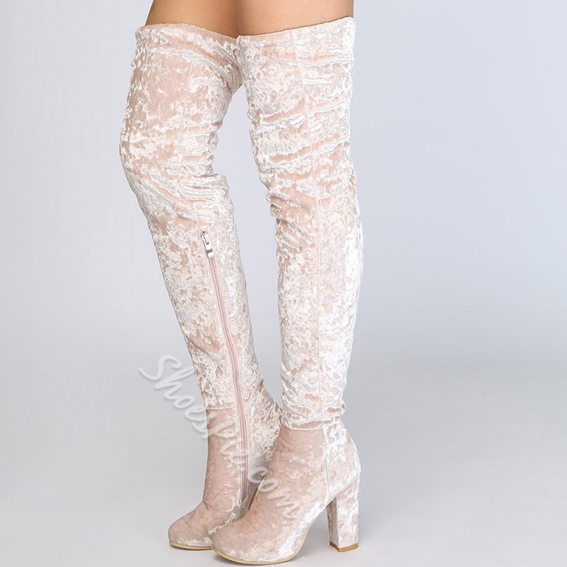 Lady Beige High Heel Thigh High Boots