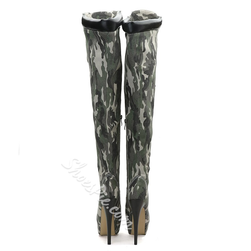 Army Green Camouflage Platform Stiletto Heel Thigh High Boots