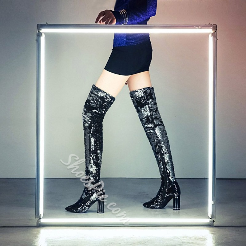 Sequin Pointed Toe Glitter Thigh High Glitter Boots