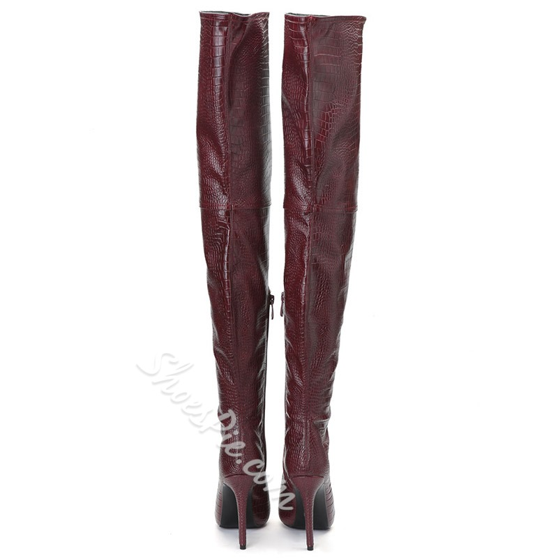 Shoespie Burgundy Peep Toe Thigh High Boots