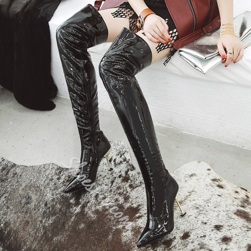 Shoespie Metallic Pointed Toe Thigh High Boots