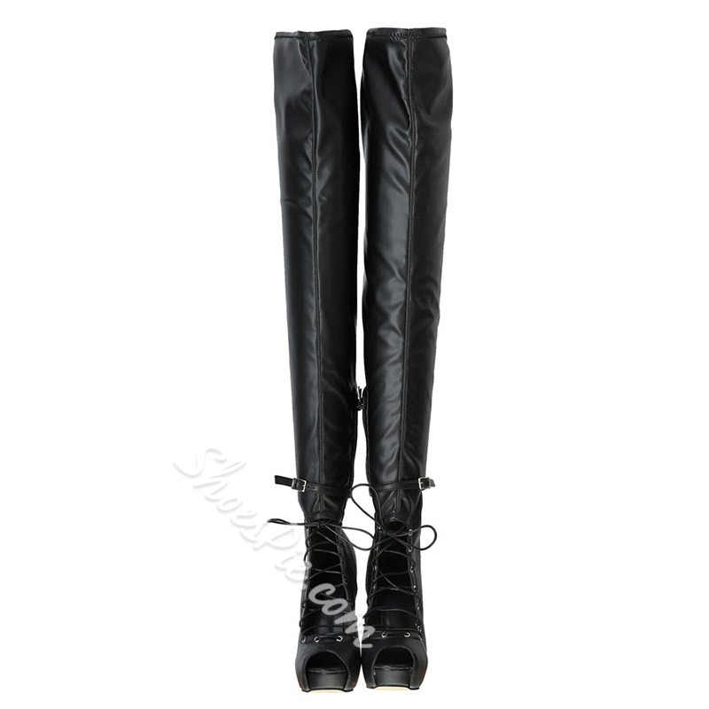 Black Cross Strap Hollow Buckle Thigh High Boots