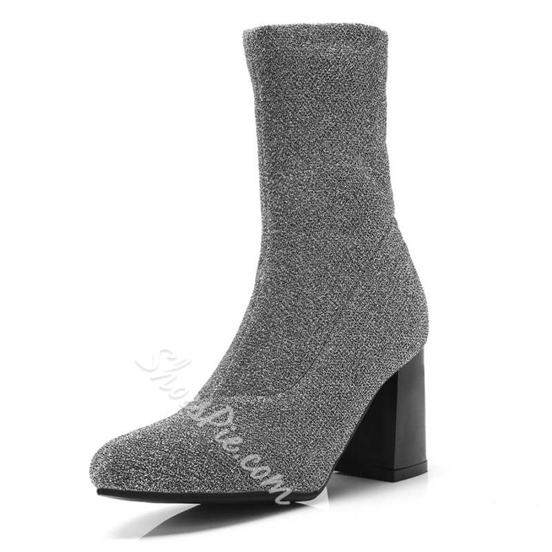 Shoespie Sequin Pointed Toe Slip-On High Heel Boots