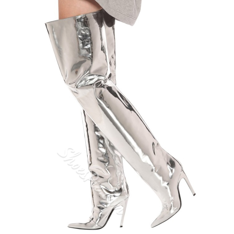 Fashion Silver Metallic Thigh High Boots
