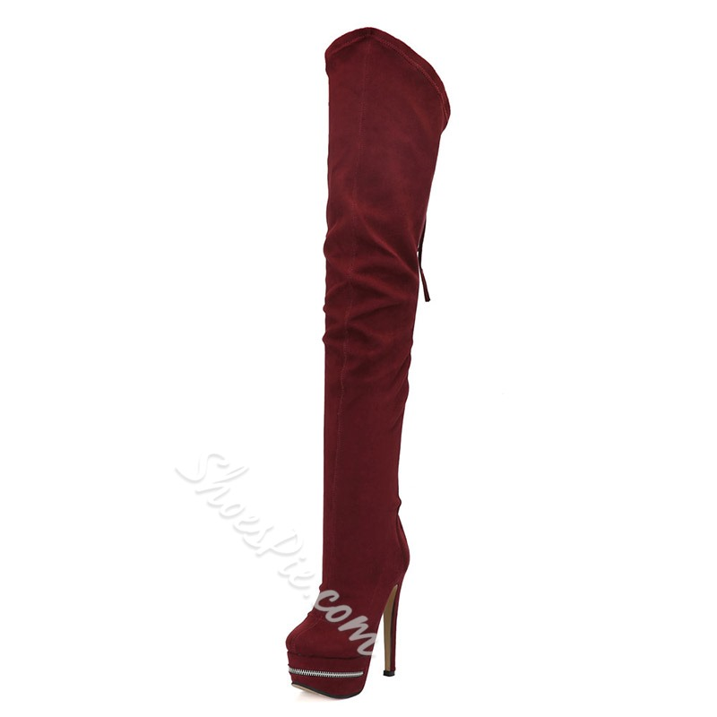 Shoespie Burgundy Lace-Up Zipper Stiletto Heel Thigh High Boots