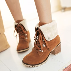 Shoespie Purfle Round Toe Lace-Up Martin Boots
