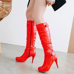 Shoespie Fashion Platform Buckle Knee High Boots