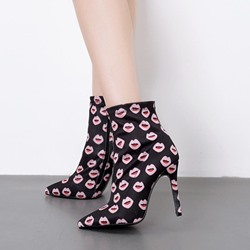 Shoespie Pointed Toe Fashion Print Ankle Boots
