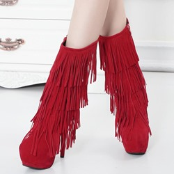 Shoespis Fringe Sexy High Heel Boots