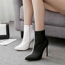 Shoespie Black & White Stiletto Heel Ankle Boots