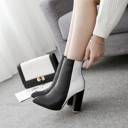 Black & White Thread Pointed Toe Ankle Boots