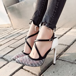 Shoespie Pointed Toe Hollow Hasp Stiletto Heels