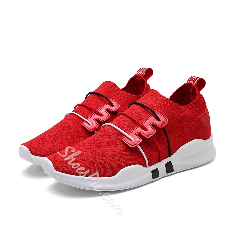Shoespie Color Block Mesh Elastic Band Men's Sneakers