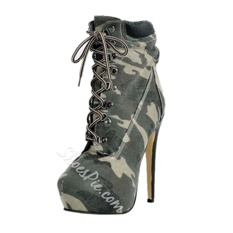 Shoespie Camouflage Print Lace-up Ankle Boots
