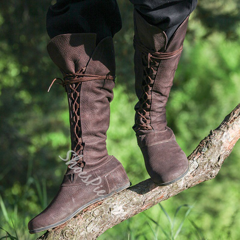 Shoespie Lace-Up Fashion Knee High Boots
