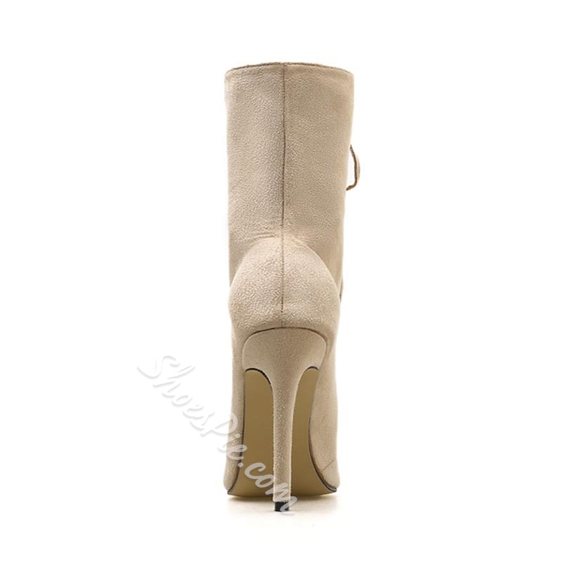 Shoespie Suede Lace-Up Stiletto Heel Ankle Boots