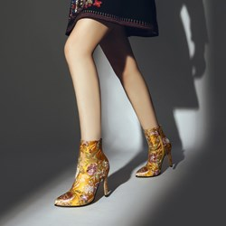 Shoespie Fashion Floral Embroidered Ankle Boots